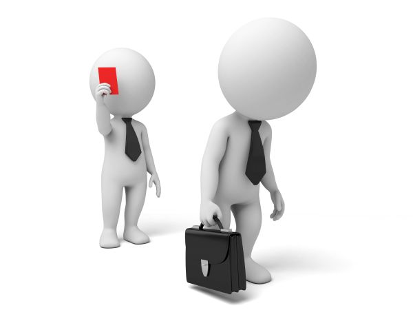 3d people showing red card for another. 3d image. Isolated white background